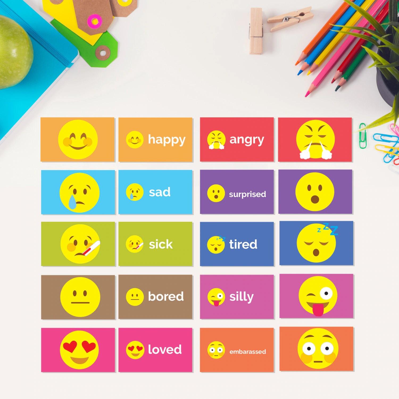 Emotion Flash Cards Printable Emoji Student Flash Cards