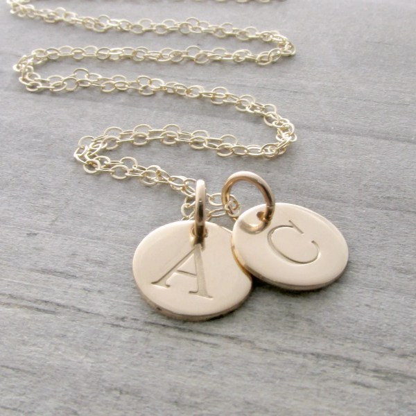 14k Gold Initial Necklace Solid Charm