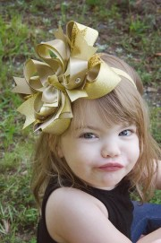 fancy gold large girls hair bow