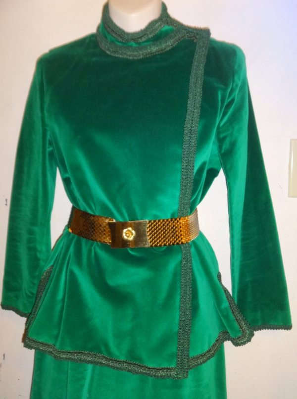 Xs Womens 4 Emerald Green Velvet 2-pc Skirt Suit Vintage 60s