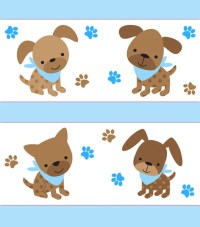 PUPPY NURSERY BORDER Decal Baby Boy Blue Wall Art Stickers Dog