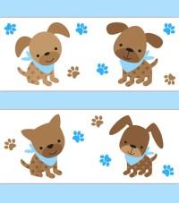 PUPPY NURSERY BORDER Decal Baby Boy Blue Wall Art Stickers Dog