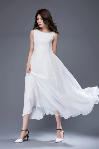 White Chiffon Dress Handmade Simple Elegant Floaty