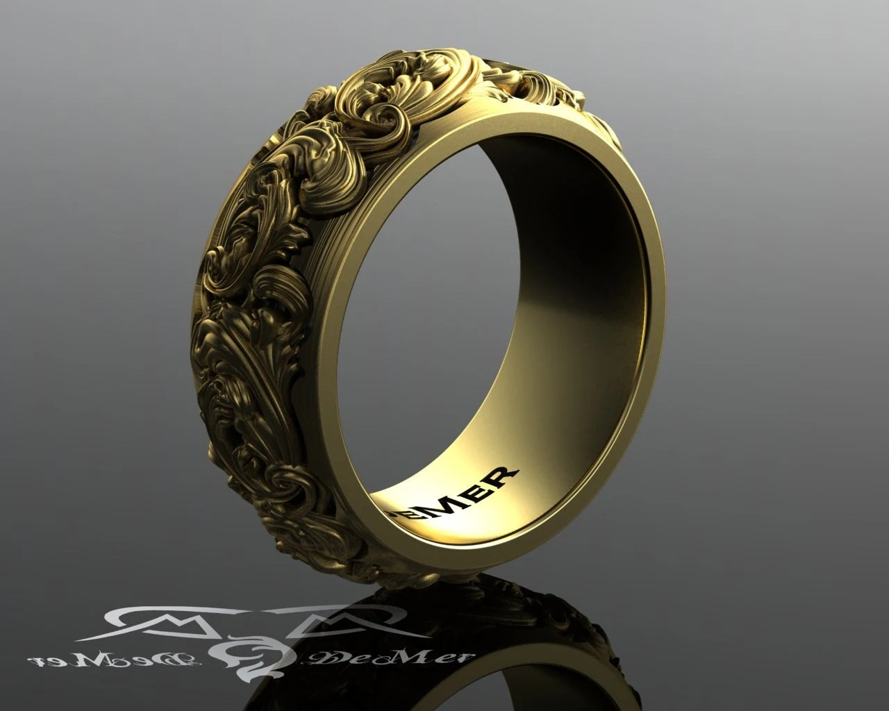 Heavy Sculpted Scroll Work 10mm Wide Engraved Wedding Band In