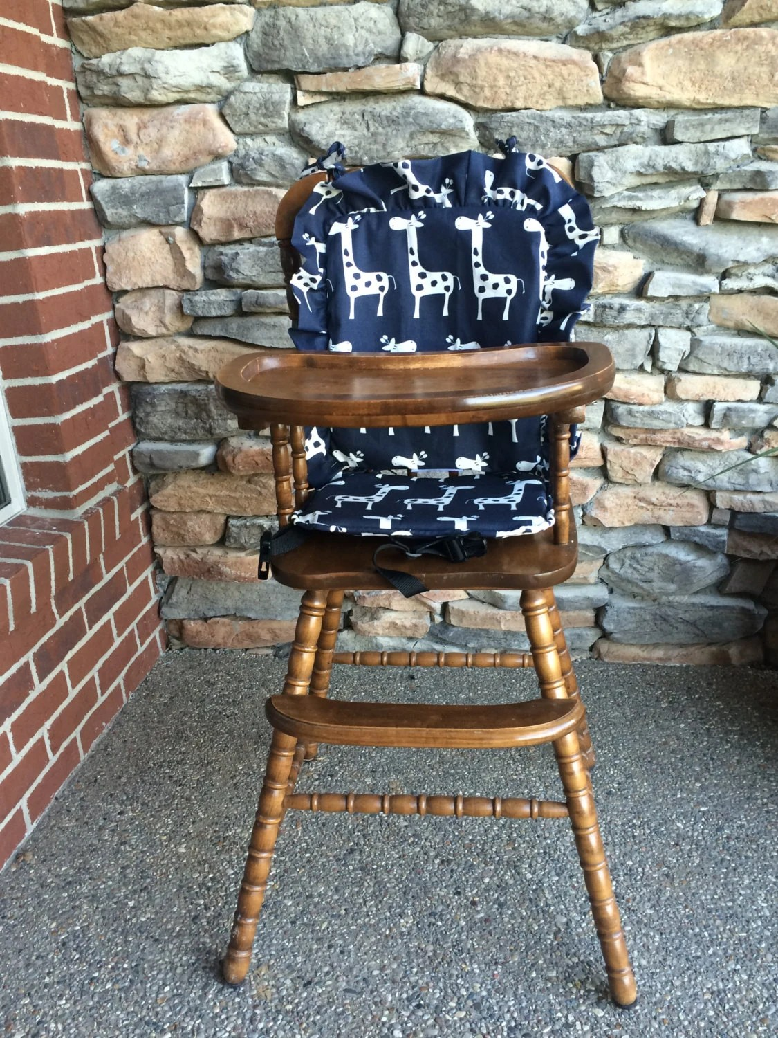 wooden high chair cushion marble table and set navy highchair cover pad