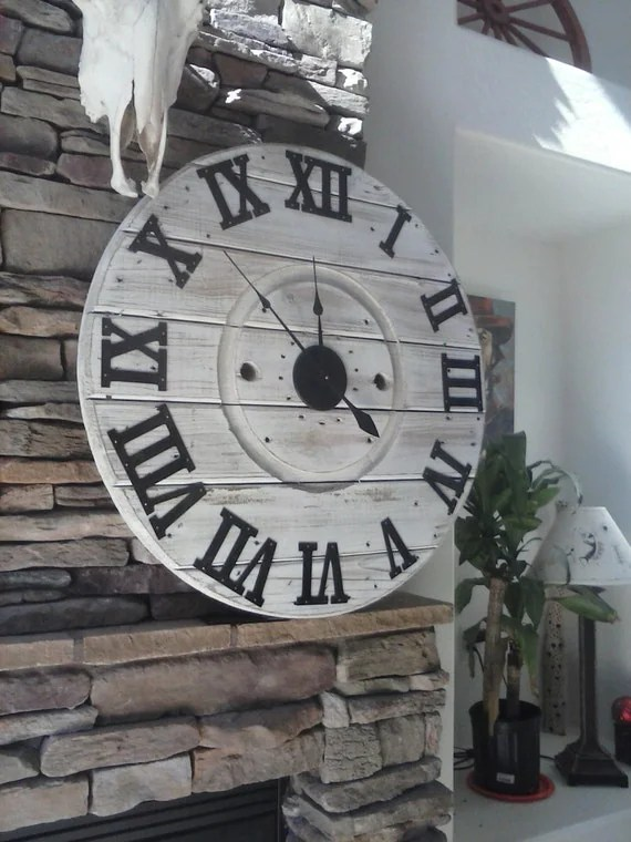 Shiplap Clock Farmhouse Clock Spool Clock Rustic Wall