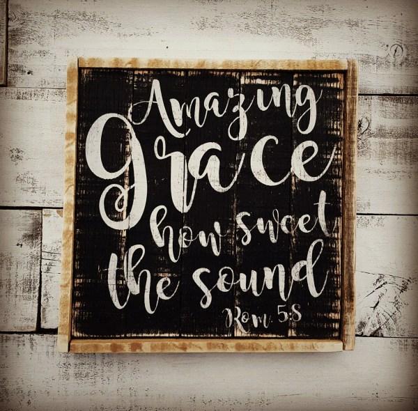 Amazing Grace Barnwood Wall Art Framed Pallet Sign