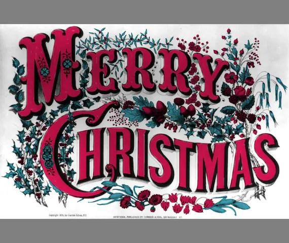 christmas clip art vintage merry