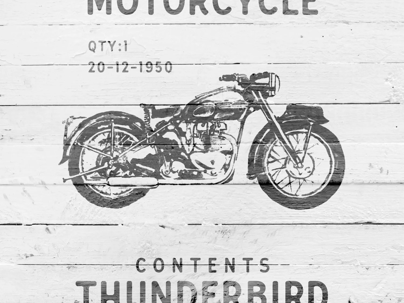 Vintage Triumph Thunderbird Motorcycle Art by GoneUndoneSthlm