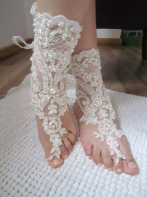 Ivory Lace Wedding Barefoot Sandals