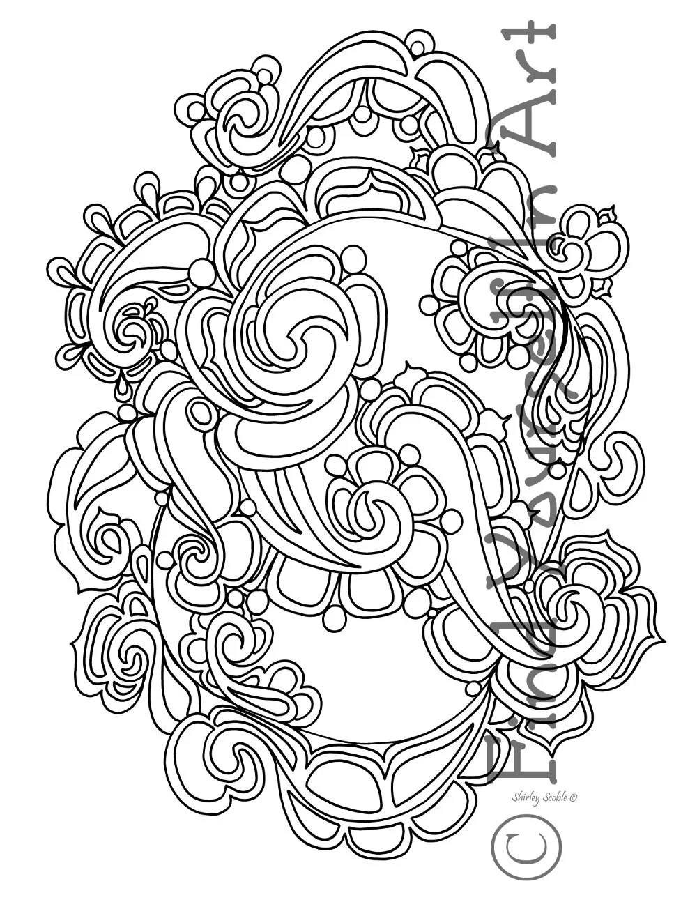 Adult Coloring Pages Entwined Paisley Freehand Pen