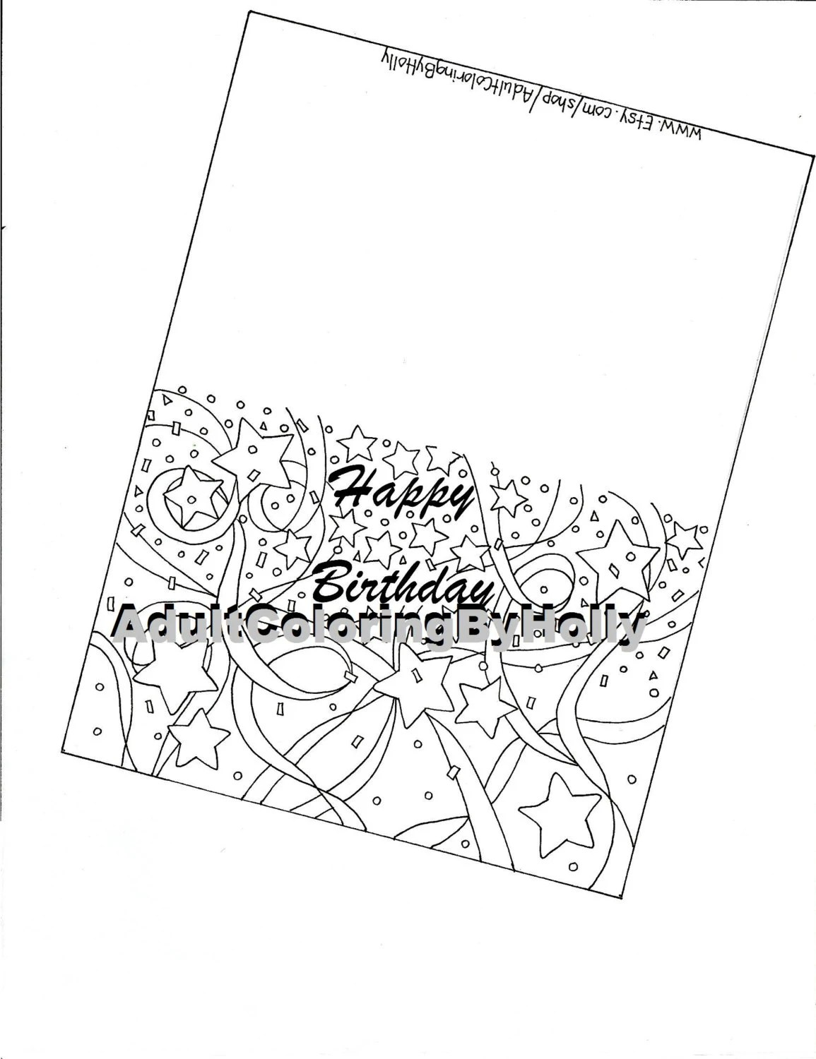 Coloring page Printable Digital Download Birthday Card