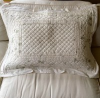 Vintage Quilted Pillow Sham Creamy White with Sage by ...