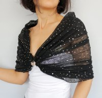 Off Shoulder Tulle Wrap Sheer Black Stole Shawl Gold Dotted