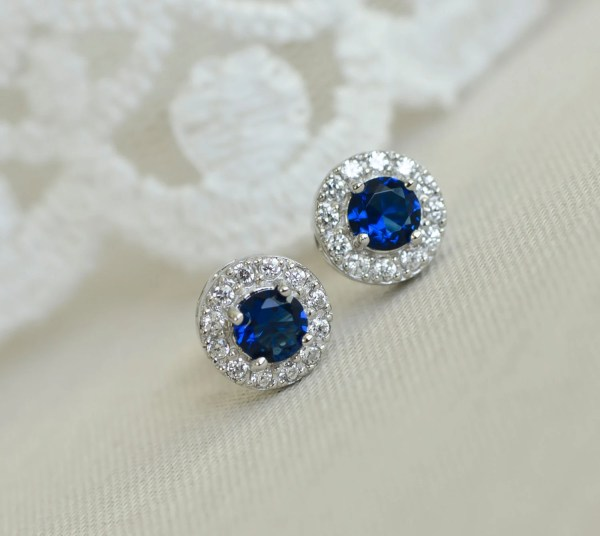 Blue Sapphire Earrings Bridal Sterling