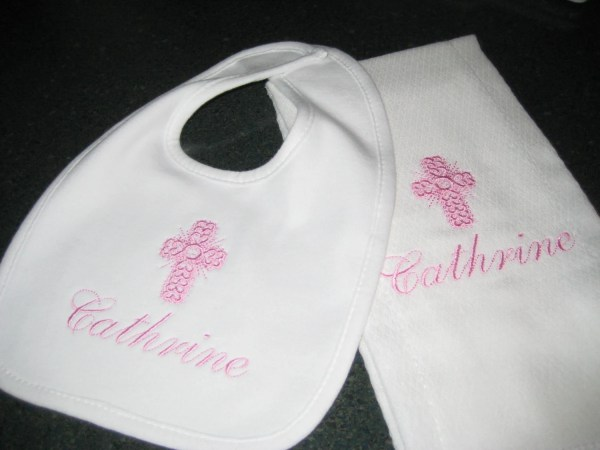 Baptism Bib And Burp Cloth Personalized