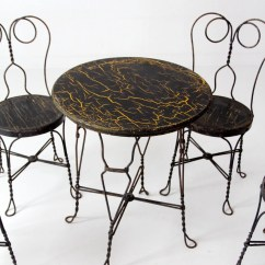 Ice Cream Parlor Table And Chairs Ergonomic Chair Uplift Vintage Black Cafe