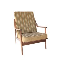 Vintage Mid Century Modern Striped High Back Lounge Chair