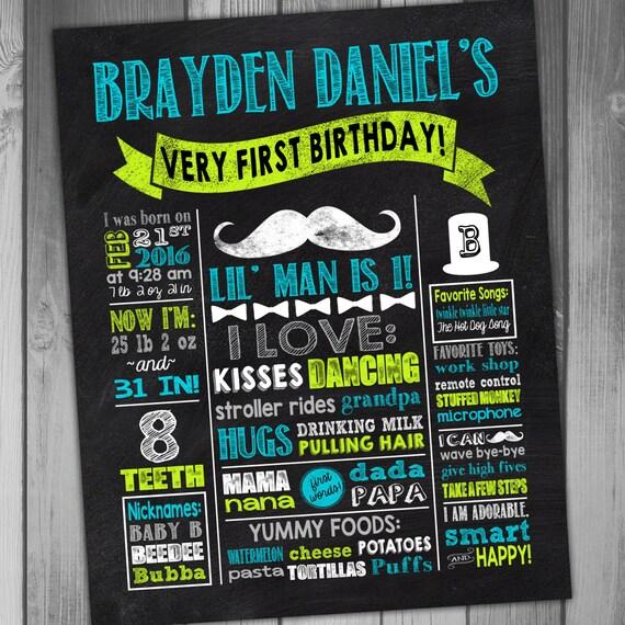First Birthday Poster Chalkboard Birthday Sign Mustache