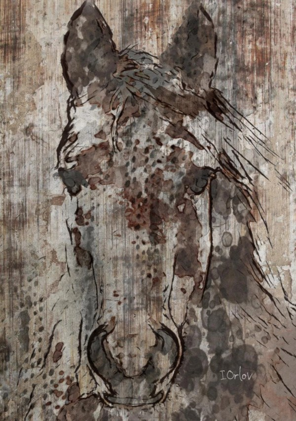 Black Angel. Large Rustic Brown Horse Art Print Irenaorlov