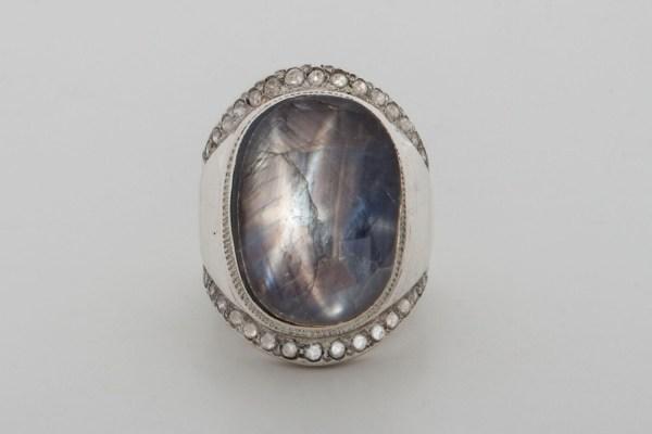 Black Star Sapphire Ring Special Zircons Genuine Gemstones