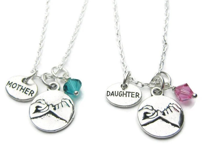 2 Pinky Promise Mother Daughter Swarovski Birthstone