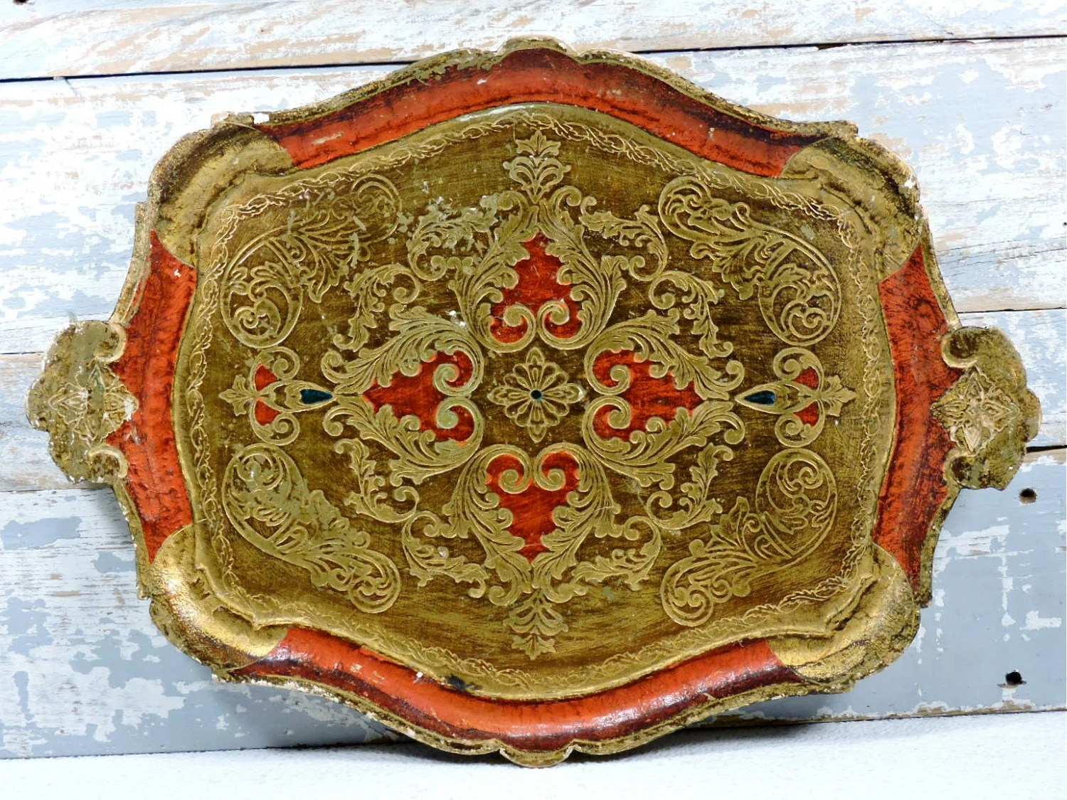 Florentine Serving Tray Italian Orange & Antique Gold Gilt