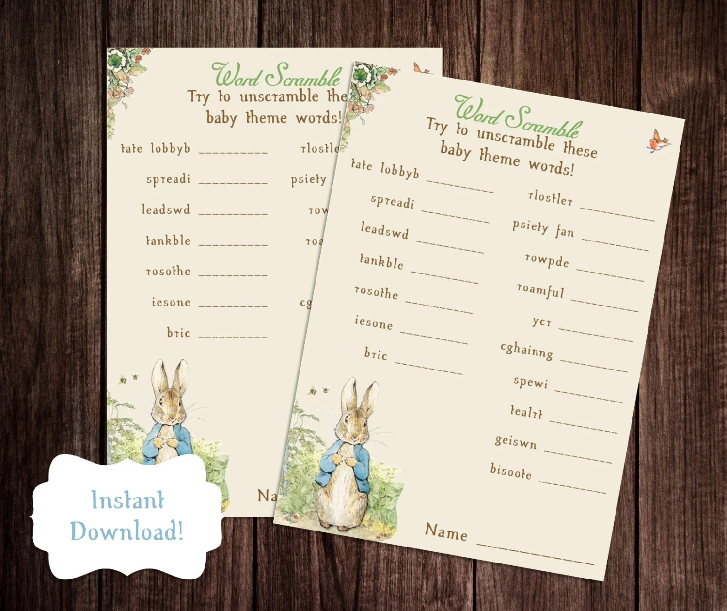 Baby Word Scramble Printable Peter Rabbit Baby Shower Game