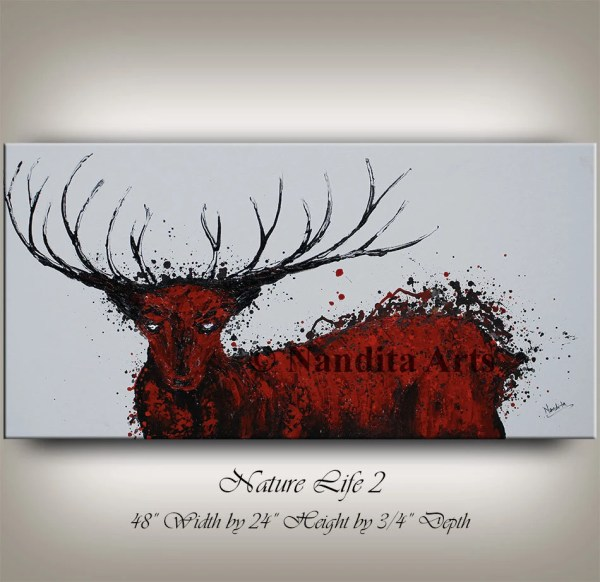 Stag Painting Deer Abstract 48 Original