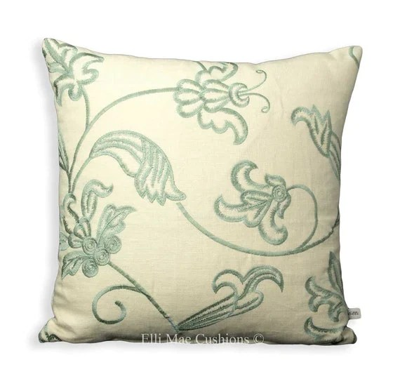 Luxury Designer Cushion Cover Embroidered Linen Fabric Duck