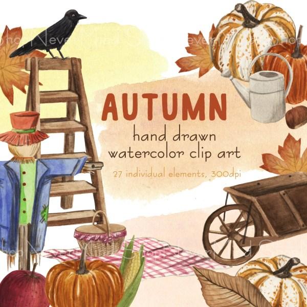 autumn clipart set watercolor