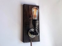 Wall lamp on wooden base Wall sconce Industrial lighting