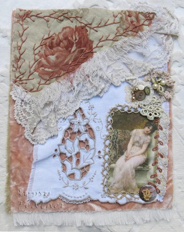 Blushing Beauty . Handmade Fabric Art Collage