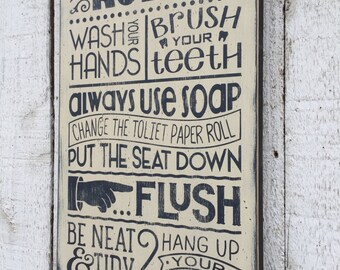 bathroom rules | etsy