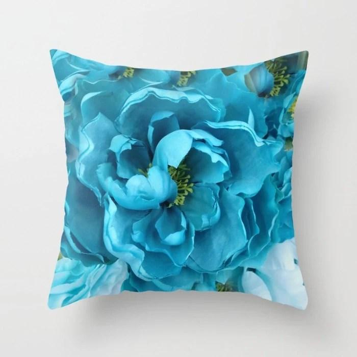 Aqua Blue Flower Pillow Shabby Chic Decor Blue Aqua Throw