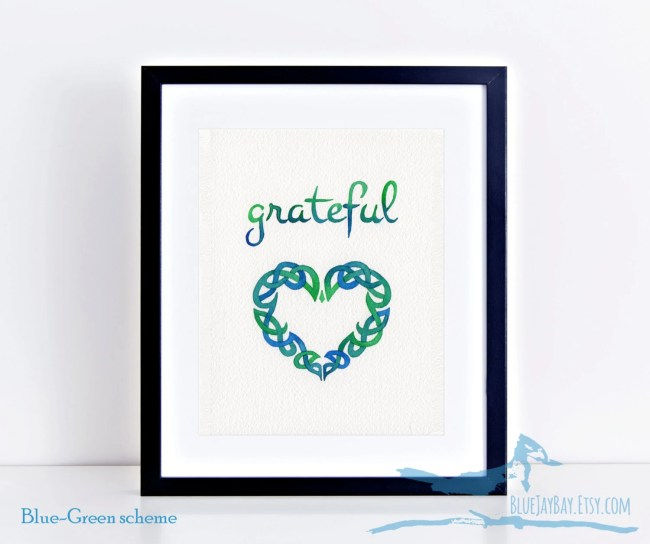 celtic knot heart painting grateful watercolor blue green love