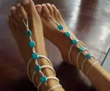 Turquoise Barfoot Sandals Gladiator Barefoot Wedding