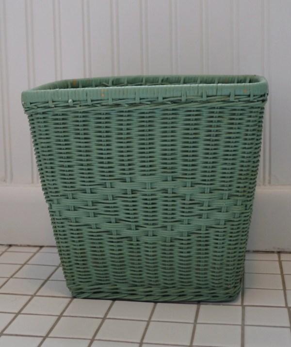 Vintage Mint Green Wicker Waste Basket Trash