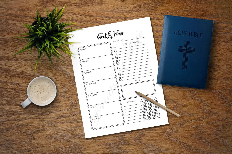 Weekly Plan Christian Day Planner Worksheet Calendar