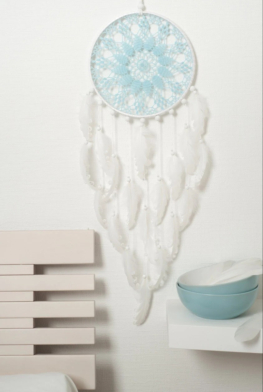 Large Light Blue White Dream Catcher Wedding by