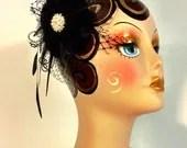 Wedding Fascinator, Wedding Hair Flower, Black Flower Fascinator, Wedding Hair Flower, Wedding Headpiece, 1920s Headpiece, Color Choice
