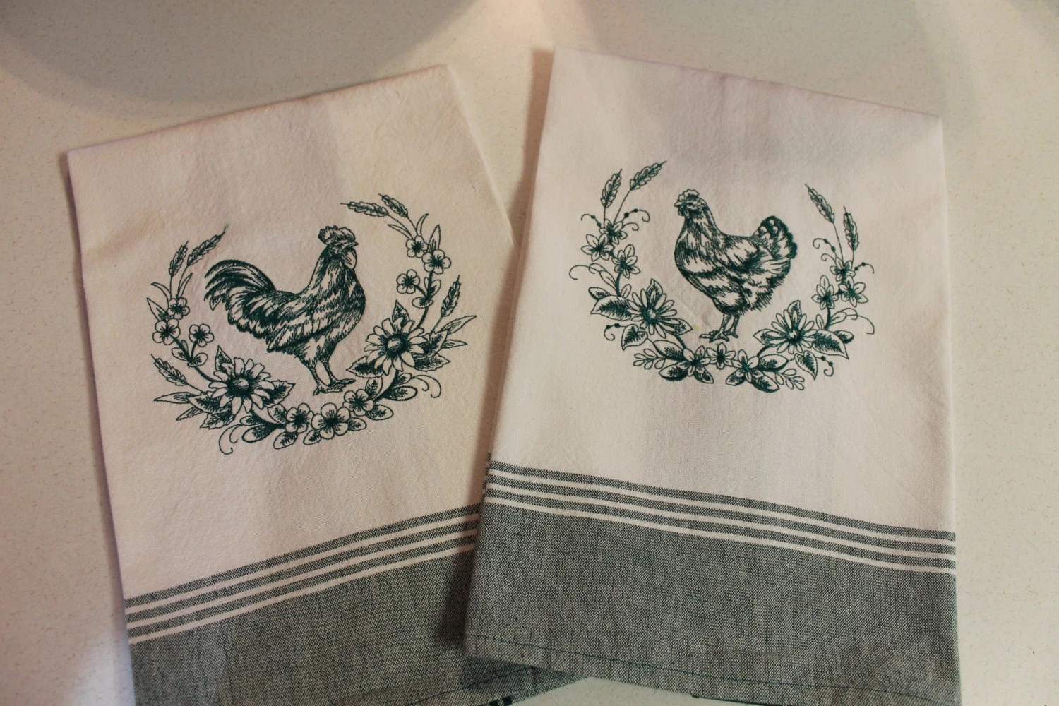 Embroidered Kitchen Towels RoosterChicken chicken towel