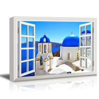 Window Style Wall Decor Blue Dome Churches of Santorini