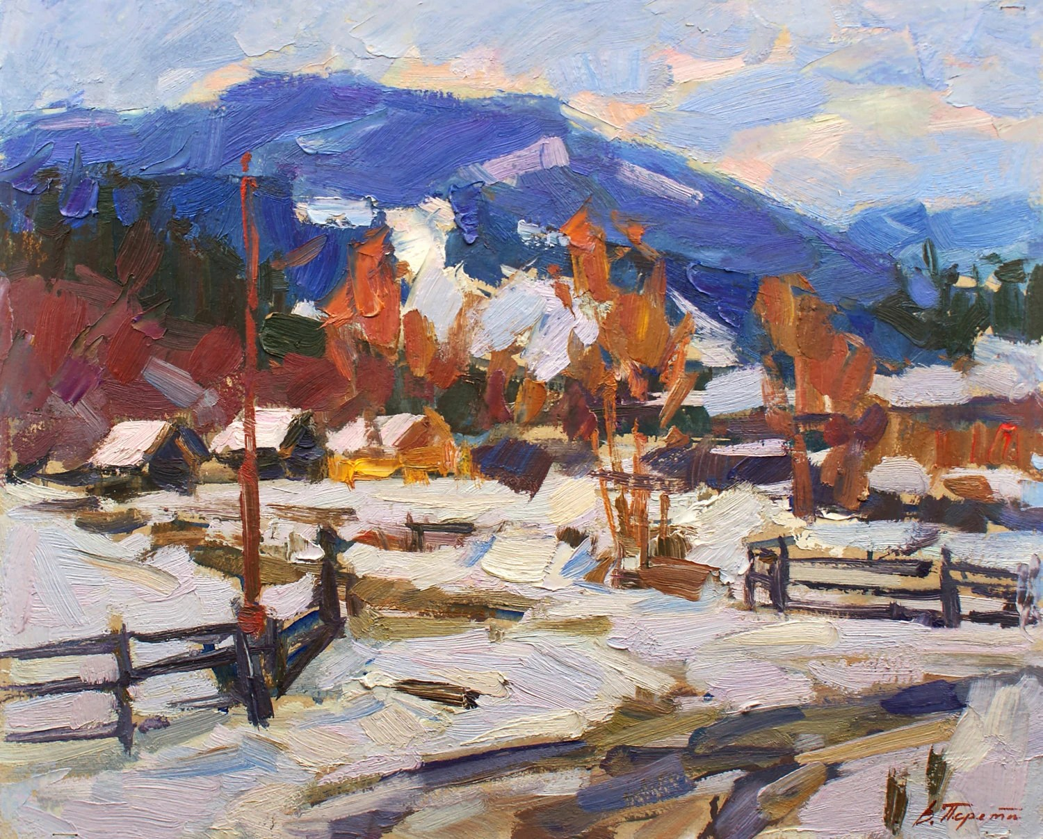 MOUNTAIN WINTER LANDSCAPE Original Oil Painting By Listed
