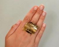 Gold tone large ring chunky ring middle finger ring tumbaga