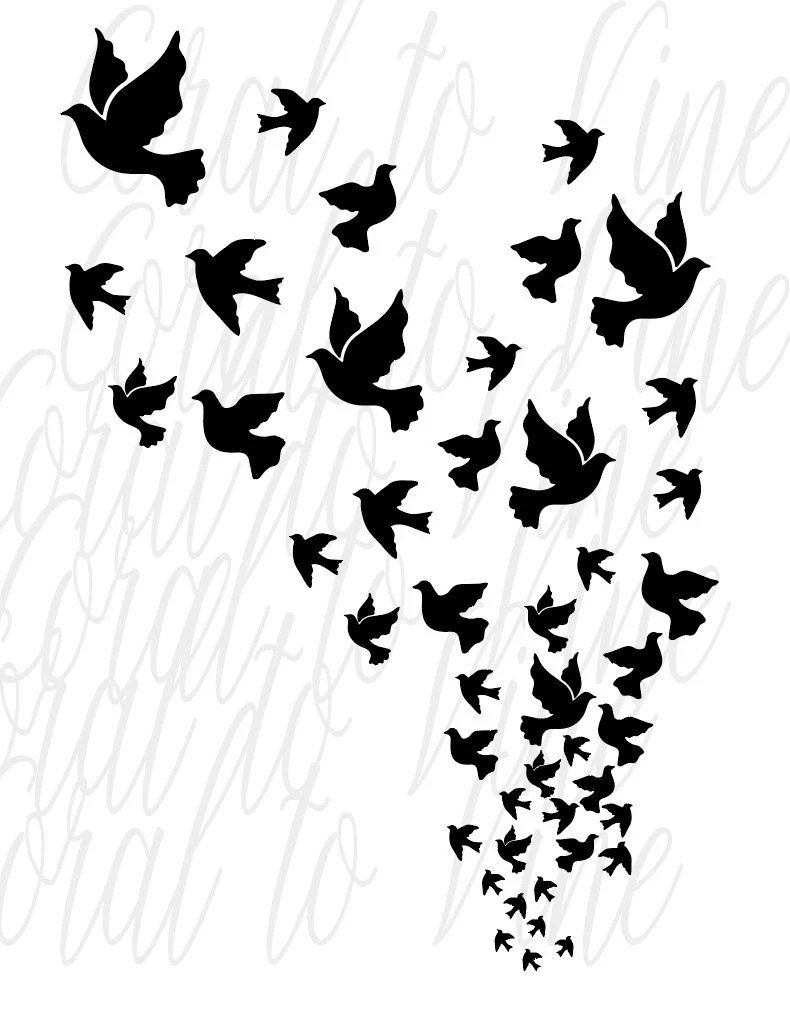 flying bird silhouette stencils auto electrical wiring diagram  doves svg bird feather svg dove flock cut file feather bird