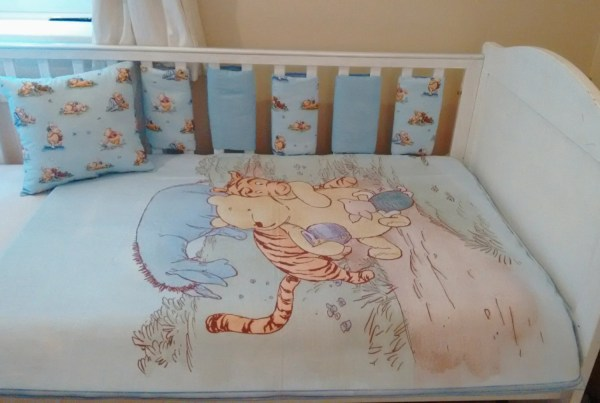 Winnie Pooh Blue Baby Bedding Quilt Bumpers Cushion Set
