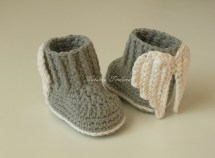 Crochet Booties With Angel Wings Baby