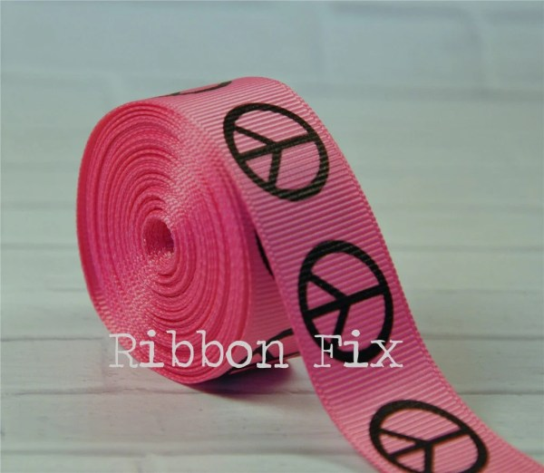 2 Yards 7 8 Hot Pink Peace Sign Print Grosgrain Ribbon