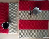 Crochet Red-Gold Bobble P...
